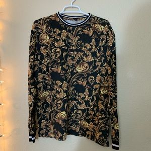 For the People Gold And Black Baroque Shirt L